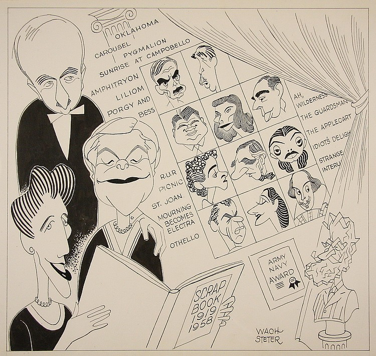 CARICATURE - George Wachsteter (1911-2004) Caricature for 40th Anniversary of the Theatre Guild of NYC, 1958, for the New York Journal-