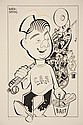 CARICATURE - George Wachsteter (1911-2004) Ink on Illustration Board of Arthur Godfrey as a Talent Fisherman for CBS, roughly 9 3/4