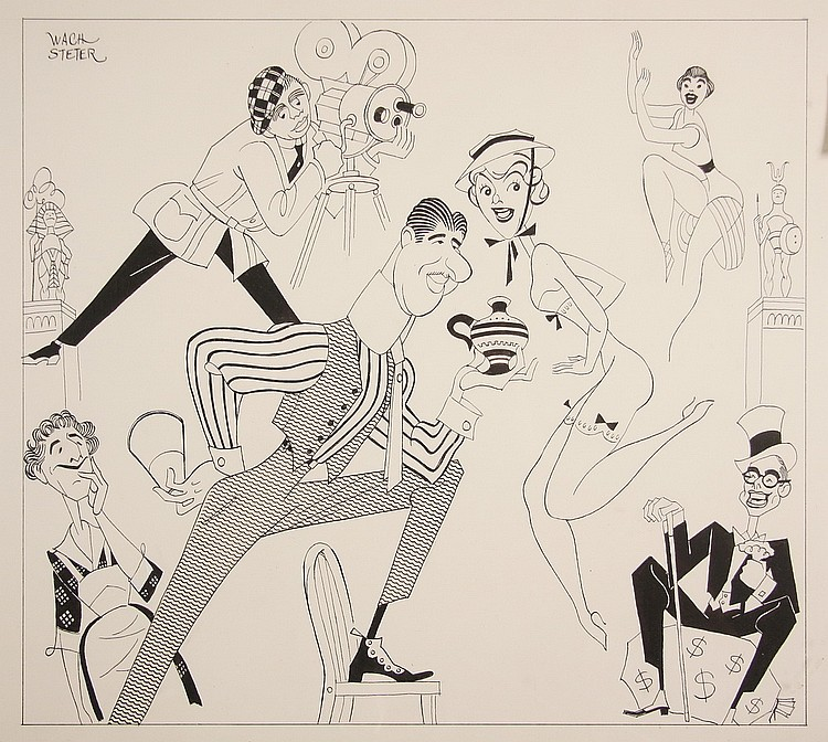 CARICATURE - George Wachsteter (1911-2004) Ink on Illustration Board Caricature of the 1939 Motion Picture 'Hollywood Cavalcade, 12 3/