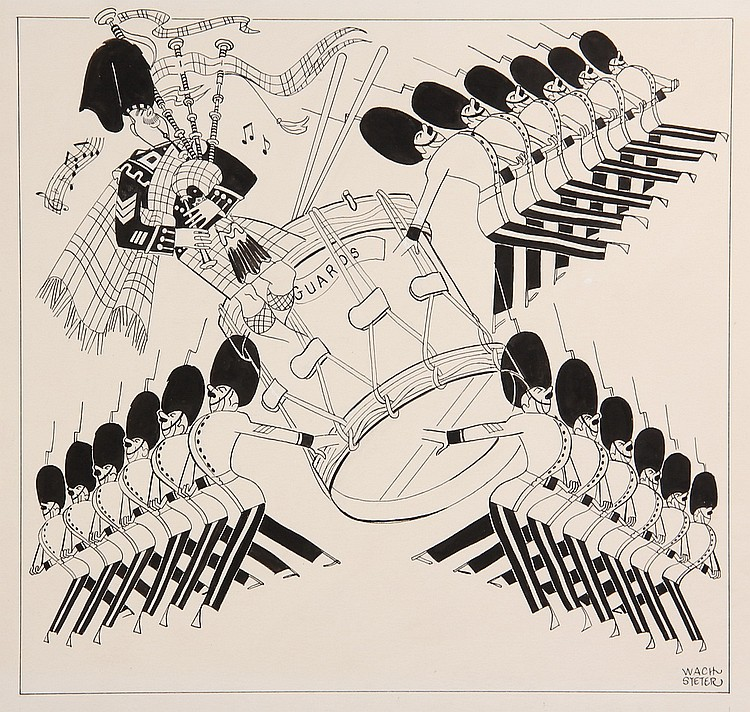 CARICATURE - George Wachsteter (1911-2004) Ink on Illustration Board Caricature Design for 1961 'The Queen's Guards', 12