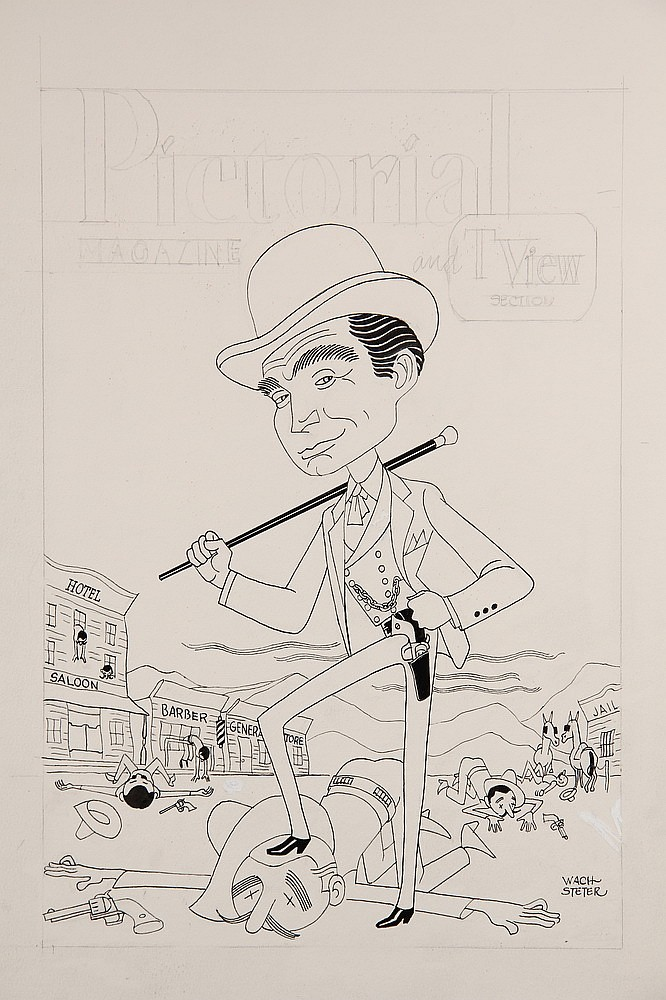 CARICATURE - George Wachsteter (1911-2004) Ink and Pencil on Illustration Board Caricature Cover Design & Color Overlay of Gene Barry a