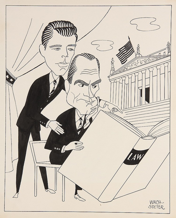 CARICATURE - George Wachsteter (1911-2004) Ink on Illustration Board Caricature Cover Design of E.G. Marshall & Robert Reed for 'The D