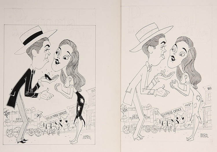 CARICATURE - George Wachsteter (1911-2004) Ink on Illustration Board Caricature Portrait of Jimmy Stewart & Lois Smith as Azel Dorsey a