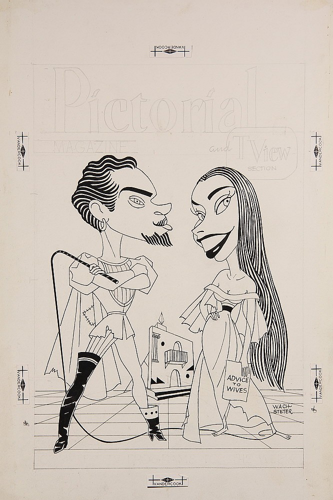 CARICATURE - George Wachsteter (1911-2004) Ink on Illustration Board Caricature Portrait of Alfred Drake as Petruchio and Patricia Mori