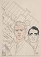 CARICATURE - George Wachsteter (1911-2004) Ink on Illustration Board Caricature Portraits of Leslie Nielsen and John Beradino for ABC-T