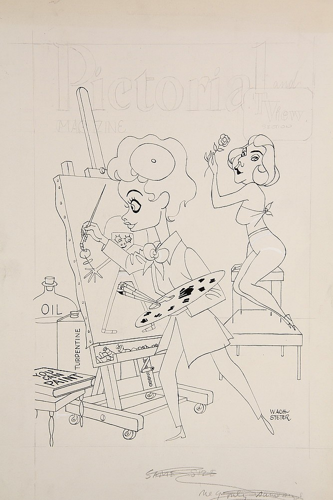 CARICATURE - George Wachsteter (1911-2004) Ink on Illustration Board Caricature Portraits of Lucille Ball as Lucy Carmichael as an aspi