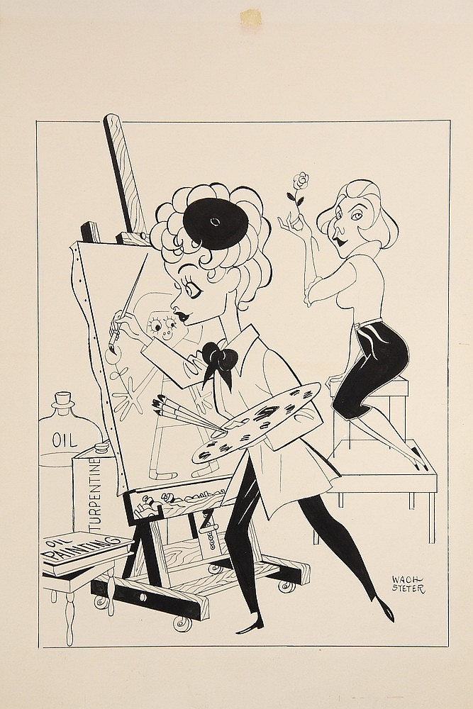 CARICATURE - George Wachsteter (1911-2004) Ink on Illustration Board Caricature Portraits of Lucille Ball with Vivian Vance, 12 1/2