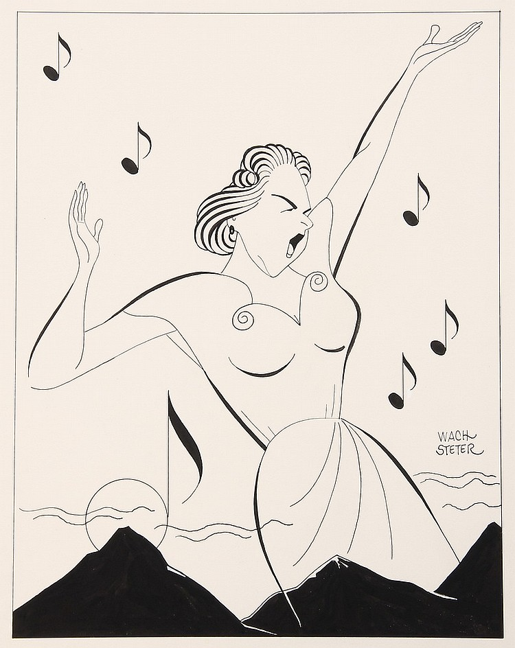 CARICATURE - George Wachsteter (1911-2004) India ink on board layout of the great Kate Smith belting out a song over a mountain range;