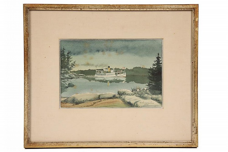 EARLE G. BARLOW (20th c. Maine) - Coastal Steamer, watercolor & gouache, signed lr and dated 1970, in gold stick frame, matted and glazed, SS: 6 1/2