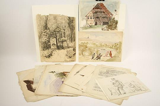 15 W/C  &  Pen Drawings O Faber du Faur 1859-76