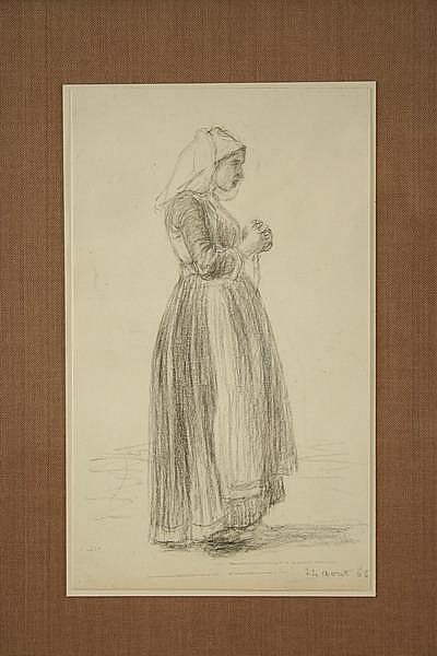 Graphite Drawing Brabant Woman Leleux French '66