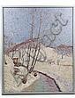 OOC Winter Landscape Phoenixville PA H J Soulen, Henry James Soulen, Click for value