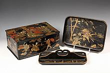 (3 PCS) JAPANESE LACQUER - Jewelry Box decorated with gilt polychrome genre scenes, 4 1/2