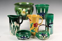 (7 PCS) JAPANESE GLAZED POTTERY - All w incised floral decoration, all in green exc yellow pitcher: tea pot, tall cylider vase, low squ