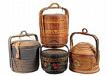 (4) CHINESE TRAVEL BASKETS - 19th c. Chinese Traveler's Baskets, three stacking, one open bodied, all four with lids and handles. One
