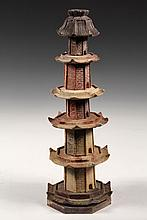CHINESE SOAPSTONE MODEL - 19th c. Eight-Sided Five-Tiered Pagoda Temple in various colors, set on pegs. 16 1/2