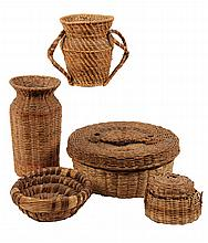 (5) PCS VINTAGE SEAGRASS & PINE NEEDLE - Some possibly Penobscot or Mic Mac, including covered basket, urn, coil-built bowl, wrapped gl