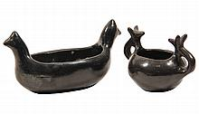 (2 PCS) NATIVE AMERICAN POTTERY - San Idelfonso Pueblo Blackware Pots with animal head handles, one oval, one round. Unsigned. Circa 19