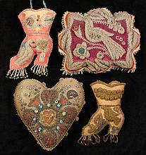 (4) NATIVE AMERICAN BEADWORK PILLOWS - Niagara Falls Iroquois Beadwork on Heart Shaped Pillow; Bird Shaped Pillow & (2) Lady's Boot Sh