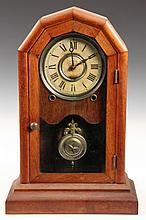 BRACKET CLOCK - Seth Thomas 8-Day Mahogany 'Doric' Clock, paper face with silvered rim, original star bob & key. 16
