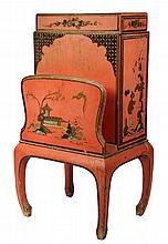 CHINOISERIE SMOKING STAND - Orange Lacquered Oriental Themed Stand with magazine rack, cabinet and drawer, decorated in gold, silver an