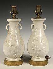 PAIR OF CHINESE VASES AS TABLE LAMPS - Blanc de Chine Baluster Vases with two handles, apple blossom decoration, with brass painted mou