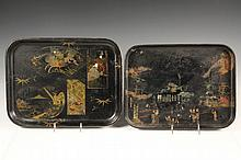 (2) JAPANESE LACQUERED TRAYS - Late Meiji Period Trays in black lacquer, one decorated with town scene having children flying kites, th