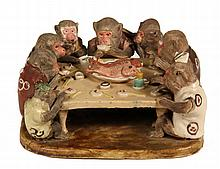 POTTERY FIGURAL GROUP - Vantines Doroyaki Japanese Sculpture of Nine Monkeys having a fish feast, all dressed in traditional Nippon rob