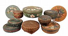 (10) PCS ORIENTAL BASKETRY - Circa 1920s-30s Chinese and Japanese Paint Decorated Covered Sewing Baskets in tightly woven reed. Various