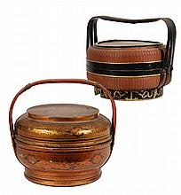 (2) FINE CHINESE BASKETS - Woven & Lacquered 19th c. Food Carriers, finely detailed and finished. Roughly 8