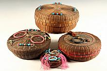 (4) CHINESE SEWING BASKETS - Late 19th to early 20th c. Lidded Circular Baskets decorated with glass beads, rings, coins, silk cords an