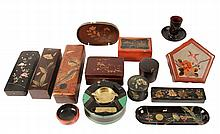 (11) PCS JAPANESE LACQUER - Collection of Glove Boxes, Pencil Boxes, Pen Trays, Trinket Boxes and Smoking Sets. Circa 1900-1930s. 2 1/2