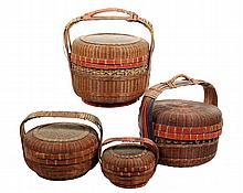 (4) CHINESE BASKETS - Woven Reed Covered Food Carriers, early 20th c, in black & red finish, various sizes.