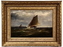 """MARINE OIL ON CANVAS - """"Fishing Boats Off the Bay of Fundy"""", by James J. McAuliff (MA, 1848-1921), signed lr and dated 1882, with stenc"""