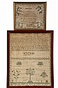 (2) STITCHWORK SAMPLERS - May the 27th, 1823 by Caroline Matilda Dorsey, mourning poem, with trees, deer and dogs; PLUS June 19, 1824 M