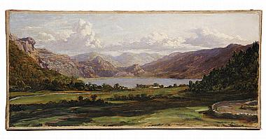 OIL ON CANVAS - 'DERWENT' by John Brett (UK, 1831-1902), unsigned, a distant view of Derwentwater with curving stone walls to left. U