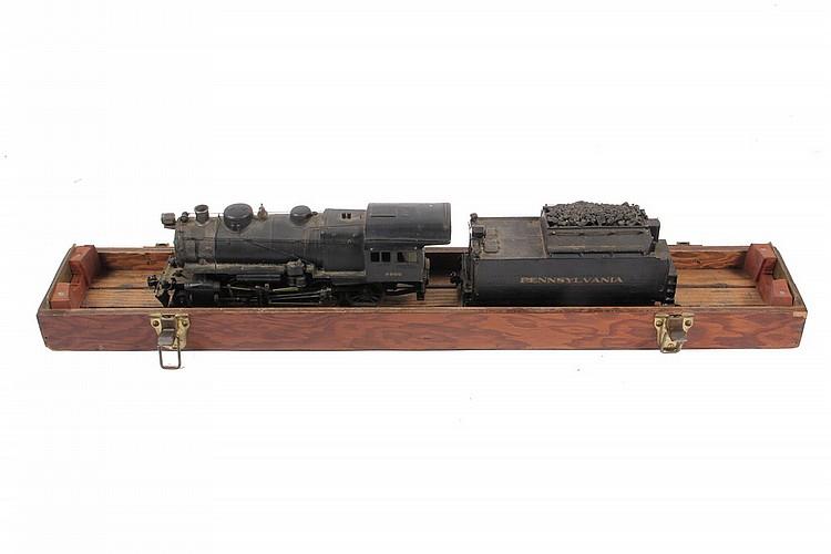 MODEL TRAIN LOCOMOTIVE & TENDER - Painted Cast Brass Electric Model of Pennsylvania Railroad Steam Locomotive #9900, 2-8-0, O gauge, 1: