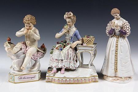 3 Late 19th Century Meissen Porcelain Figurines