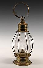 FIREHOUSE LANTERN - Rare Brass Firehouse Lantern, globe engraved 'Pawtucket Fire Dept'. Patented March 25, 1862. 18