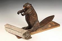 FOLK ART SCULPTURE - Carved and Painted Pine Figure of a Standing Beaver, mounted on a plank with a loose log, signed on underside