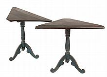 PAIR OF CORNER STANDS - Painted Stands with black triangular tops, blue turned column, set on shaped leg tripod, 19th c. 28