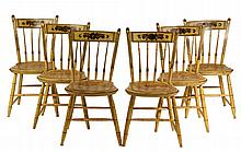 (6) COUNTRY WINDSOR CHAIRS - Set of New England Thumback Chairs in mustard yellow paint with gold and black pinstriping, floral theorem