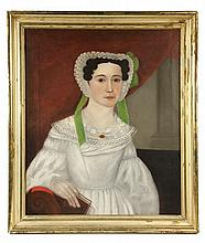 E.E. FINCH (active 1832-1850) - Naive Portrait, possibly of Elizabeth Weeks Daniels of Pittston, Maine, oil on canvas, signed verso. In