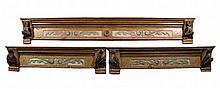 (3) ARCHITECTURAL CORNICES - Double Door & (2) Window Cornices in hand carved painted pine, with hand carved birds on the corbels, owls