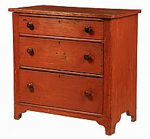 CHEST OF DRAWERS - Red Stained Pine Chest, early New England, with overhanging top, three graduated drawers with mushroom knobs, rounde