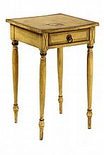 COUNTRY SHERATON LAMP STAND - New England One-Drawer Stand in mustard yellow paint with gold and black pinstriping, circa 1830-40s, wit
