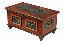 DIMINUTIVE PAINTED CHEST - Continental Chest in softwood in red paint, with floral decoration on teal panels, having fitted overhanging