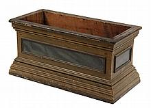 FIREWOOD BOX - Painted Pine Open Top Box, with heavily molded base and crown, in raw ochre paint, with molded panels having faux blue s
