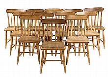 (12) COUNTRY CHAIRS - Pine Plank Seat with simple turned frames, in ochre paint with black pinstriping. Circa 1850s. 17
