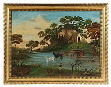 FOLK ART PAINTING - American Lumbermen Fording a Stream, circa 1840, probably New England, unsigned, oil on canvas, in gilt ripple mold